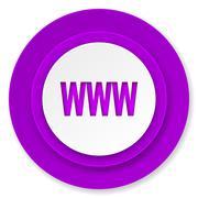 Www icon, violet button. Stock Illustration
