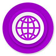 earth icon, violet button. - stock illustration