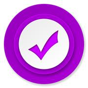 Accept icon, violet button, check sign. Stock Illustration