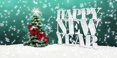 Stock Illustration of happy new year christmas tree winter snow