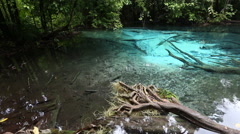 panoramma the picturesque body of water in the jungle of Thailand - stock footage