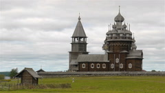 Orthodoxal church Kizhi under reconstruction Stock Footage