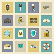 cyber defense flat icons set - stock illustration