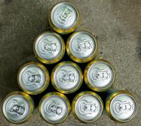 Much of drinking cans Stock Photos