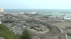 General view over the Port of Dover, UK. Stock Footage