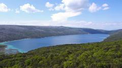 Aerial - Wide angle shot of Croatian landmark, lake Vrana Stock Footage
