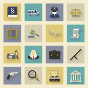law and justice flat icons set with shadows - stock illustration