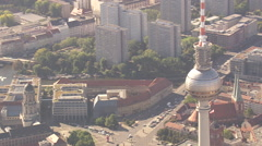 Alexanderplatz, TV-Tower with Stadthaus and Fischerinsel in background Stock Footage