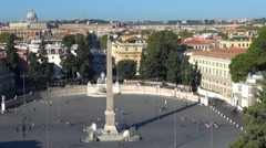 Timelapse aerial view Piazza del Popolo Egyptian obelisk traffic street Rome day Stock Footage