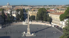 Panorama view Egyptian obelisk People's square traffic street people travel Rome Stock Footage