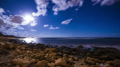 4k Time Lapse of Moonset and Stars over the mediterranean Sea Stock Footage