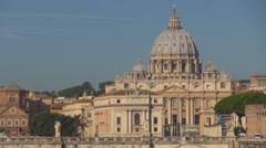Timelapse Basilica San Pietro Vatican traffic car Umberto Bridge Rome cityscape  Stock Footage