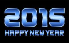 Happy new year 2015 - rectangular beveled blue metal letters Stock Illustration