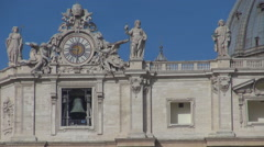 Bell decoration public clock St Peter cathedral Vatican place Rome city symbol  Stock Footage