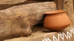Pots in rural area Stock Footage