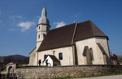 Stock Photo of gothic evangelical church from the 14th century in kocelovce, near roznava, s