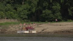 Boating on the Aye Yarwaddy river, buddhist boat Stock Footage