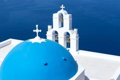 Stock Photo of agios theodori church in fira, santorini, greece