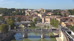 Panoramic view traffic street Rome bridge Ponte Vittorio Emanuele skyline iconic Stock Footage