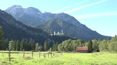 Germany Neuschwanstein Castle mountain Bavarian Alps zoom in 4K 078 Stock Footage