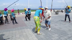 Tourist Having Fun with Brazilians in Salvador, Brazil Stock Footage