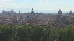 Aerial view National Monument Victor Emmanuel Rome cityscape church dome skyline Stock Footage