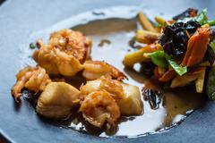 Japanese Cuisine - Ebi Tempura with Vegetables - stock photo