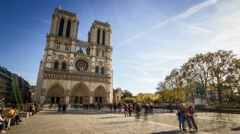 Notre-Dame Cathedral, Parvis Side View, Paris, Timelapse Stock Footage