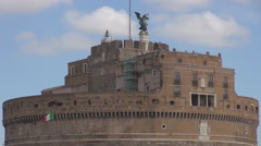 Castel Sant' Angelo Rome cityscape historic place medieval fortress famous day Stock Footage