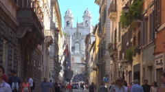 Crowded narrow street Rome cityscape Trinita dei Monti church Piazza di Spagna  Stock Footage