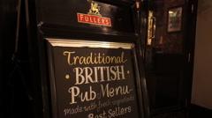 Sign Traditional British Pub Menu Stock Footage