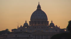 Timelapse basilica San Pietro cupola sunset Vatican church Rome city silhouette  Stock Footage