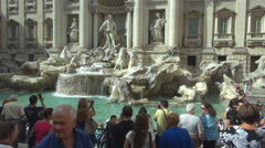 Crowded tourist people take photo Rome Trevi Fountain Fontana di Trevi icon day Stock Footage