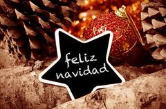 Feliz navidad, merry christmas in spanish Stock Photos