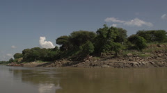 Boating on the Aye Yarwaddy river, shore side Stock Footage