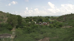 Overview of island to Bagan skyline Stock Footage