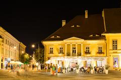 Night Life In The Upper Town Part Of Sibiu Historical Center Stock Photos