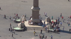 Tourist people relax Piazza del Popolo square Rome city obelisk symbol sunny day Stock Footage