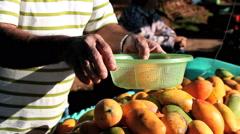 Farmer market, Sao Paulo, Brazil. Feira. Mango fruit Stock Footage