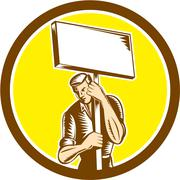 Protester activist union worker placard sign woodcut Stock Illustration