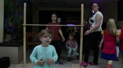 Kids Doing Limbo Dance At A Birthday Party HD 2 Stock Footage
