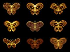 Selection of Fractal Butterflies Stock Illustration