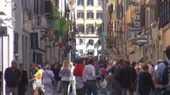 Busy shopping narrow street Rome old town group tourist people travel downtown  Stock Footage