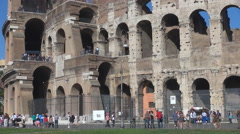 Tourist people visit Great Colosseum forum Rome city landmark sunny day arena  Stock Footage