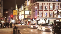 London Westend Theatre district Shaftesbury Avenue by night - stock footage