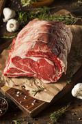 raw grass fed prime rib meat - stock photo