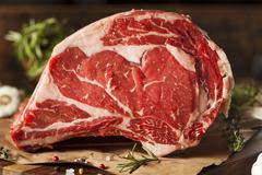 Raw grass fed prime rib meat Stock Photos