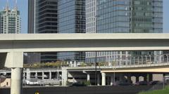 atlantic station center, traffic on interstate 85 and 75, atlanta, usa - stock footage