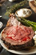 homemade grass fed prime rib roast - stock photo