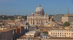 Timelapse Aerial view San Pietro cathedral Vatican place Rome landmark traffic  Stock Footage